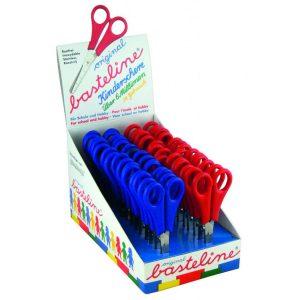 Display mit Bastelscheren in blau und rot